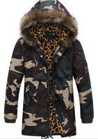 winter jacket men Camouflage hooded jacket fur collars long coat vetement jaqueta couro homem