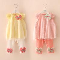 2014 summer bow girls clothing baby child butterfly sleeve legging set tz-1653