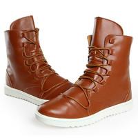 Korean Mid-Calf Men Leather Shoes Eu 39-44 New Winter Lace-up Design Handsome Man Warm Fashion Boots