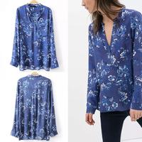 2014 New Autumn Women's Trendy Blue color Floral Print V neck Long Sleeve 1 Pocket on front Slim fit Cotton Shirts Blouse Tops