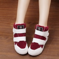 free shipping 2014 autumn shoes high-top sneaker velcro elevator single shoes color block women's shoes decoration single shoes