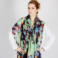 2013 spring and autumn women's oil painting warm wool print scarf cape dual
