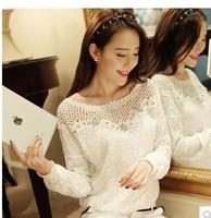 2014 autumn new spring Korean women fashion loose chiffon shirt short paragraph long-sleeved white shirt lace shirt T shirt