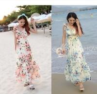 2014 summer women's ruffle chiffon one-piece dress summer bohemia beach dress full dress