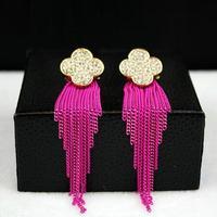full rhinestone inset four leaf clover earing tassel drop earrings for women gold plated earrings wholesale gifts