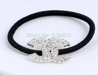 20pcs wholesale letter designer black elastic hair bands hair ties ponytail holder rhinestone hairbands Free shipping