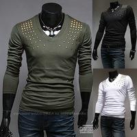 2014 Autumn New Models Men Tee diamond Paste Personalized Fashion Wild Long-sleeved T-shirt, sports T-shirt TX235