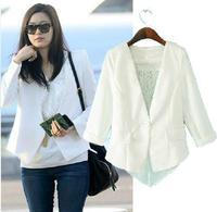 new 2014 Spring autumn fashion women slim suit faux two piece blazer women's jacket lady Star the same paragraph coat