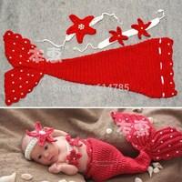 Beauty Mermaid Infant Toddler Boy Girl Baby Beanie Newborn Costume Photo Photography Props Knit Crochet Handmade Cocoon