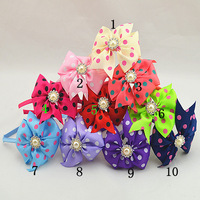 Trail order High Quality polka dots Grosgrain Ribbon Bow with bling pearl Hairband For baby Kids hair accessories 6pcs/lot