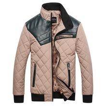 New Designer 2014 Men Winter Fashion Down Jackets Black / Khaki Plus Size M-3XL Leather Patchwork Man Thick Warm Coats  (China (Mainland))
