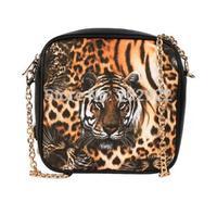 New Vintage Fashion Tiger Prints Designer Brand Chains PU Leather Women Messenger Bags Handbags Women Shoulder Criss-cross Bags