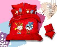 wedding sanding bedding set  100% cotton marry comforter quilt duvet cover sheet unique king queen  love soft bed set