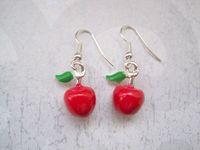10pair *3D RED APPLE GREEN LEAF* ENAMEL SP Earrings Rockabilly Cute Teacher Gift Bag 33MM LK678