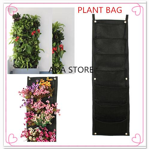 Novidade 7 Bolsos Vertical Jardim plantador de parede Poliéster Casa Jardinagem flor Plantar Bags vida interior parede plantador(China (Mainland))
