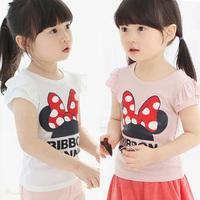 2014 summer bow letter children's female child clothing baby child short-sleeve T-shirt tx-0915