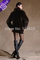 Women Covered Button Real Fur Coats New Arrival Long Full 2014 Women's Clothing Imitation Mink Overcoat Elegant Plus Size Coat