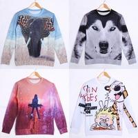 2014 new fashion women's / men's cartoon / animal / Top sweatshirt hoodies apparel wool sleeves girl 3D printing galaxies
