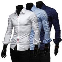 2014 Spring And Autumn Men's Casual Shirt Color Ribbon Decoration Fashion Men's Shirt Buttons CS310