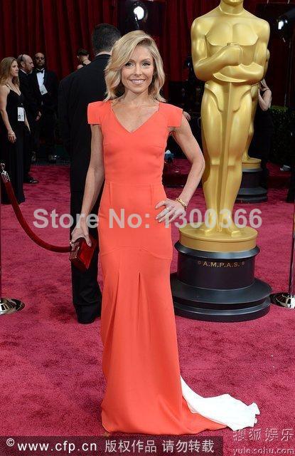 Red Carpet Gown Kelly Ripa V Neck Long Evening Dress Maxi Short Sleeves Elegant Red Celebrity Dress New 86 annual Oscar 2014(China (Mainland))