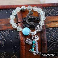 925 pure silver jewelry  Natural prehnite 8mm thick lap fresh female models fashion bracelet xh036142w