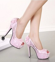 free shipping,2014 sexy Lace peep toe bow women thin heels platform pumps,lady shoes heels,apricot,pink