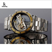 Original IK 50 meters waterproof watch double face hollow out fashion skeleton automatic men mechanical self wind brand swimming