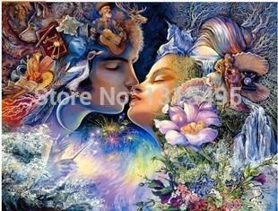 DIY 3d diamond painting Inlaid decorative wall sticker painting Diamond embroidery Beautiful faery century kiss S106(China (Mainland))