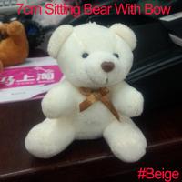 <#Beige 30pcs/lot 7cm> Cartoon Plush Sitting Bear Witb Bow Plush Dolls Craft Key/Phone/Bag/Applique/cute/baby Stripes