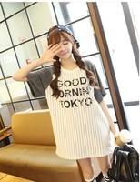 FREE SHIPPING 2014 summer women's beading interspersion patchwork stripe short-sleeve T-shirt
