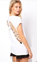 2014Big-name summer wear the new laser chase back empty angel wings round collar short sleeve T-shirt black and white