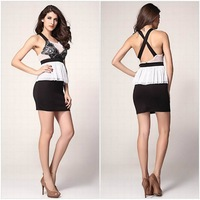 New Arrive 2014 Ladies Fashion Sleeveless White Lace Cute Pleated bodycon Dresses Women