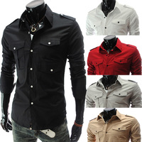 Hot 2014 New Men's Luxury Boutique Multi- Pocket Badges Slim Casual Long-sleeved Shirt Mens Dress Shirts CS312