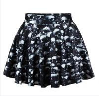 New 2014 Women Short Skirt Novelty 3D Skull Digital Printing Skirts Free Shipping