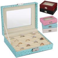 Luxury Fashion PU Leather MakeUp Case, Ring Storage Organizer, ring box, Jewelry Box/Casket, birthday gift boxes free shipping
