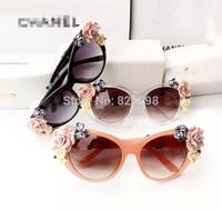 New Baroque Handmade Flower Adorned Sunglasses Large Frame Unique Women Eyeglasses