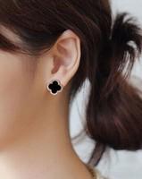 5Pair New Popular Women's Fashion Rhinestone Four Leaf Stud Earrings Wholesale