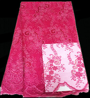 (5yards/lot)YOL02-2!fuchsia! wholesale nice design African organza lace !high quality lovely French net lace fabric for wedding!