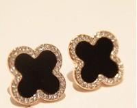 1Pair New 2014 Fashion Personality Rhinestone Four Leaf Stud Earrings Ear Accessories for women girls