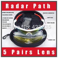 free shipping Top Quality Radar Path Polarized Cycling Bicycle Bike Outdoor Sports Eyewear Sunglasses men's sunglasses 5pcs Lens