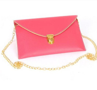 Free Shipping PU Leather Women Designer Envelope Clutch Bags Handbag Purses Chain Shoulder Bag Candy Color Bolsas Femininas 2014