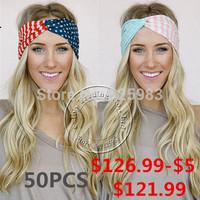 Free Shipping American Flag Headband USA Hair Band Red White and Blue Turban Headbands Fashion Accessory A0394