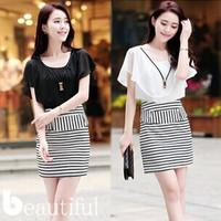 2014 new summer women striped chiffon dress stitching package hip Slim short-sleeved chiffon dress free shipping