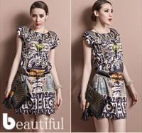 2014 New Style European Hot Sale Brand Fashion Casual Leopard Chiffon Women Summer Dress Free shipping