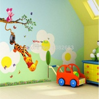 Free Shipping Hot Selling Trees And Bear Tiger Bee Flowers Cartoo Wall Stickers PVC DIY Home Living Room Decoration TC1067