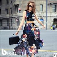 2014 new spring fashion ladies sleeveless summer dress irregular Lotus leaf collar chiffon dress Casual Dress Free shipping