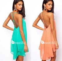 2014 New Summer Women Clothing Sexy Spaghetti Strap Dresses Halter Backless Chiffon Beach Dress Vestidos, 3 Color, S, M, L, XL