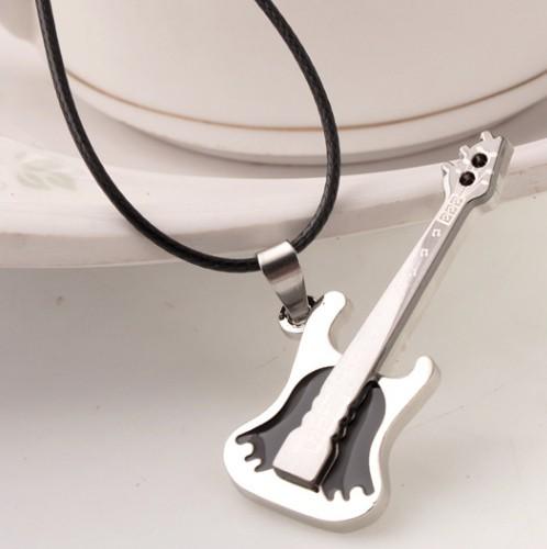 Male girls necklace guitar pendant titanium decoration chain accessories(China (Mainland))
