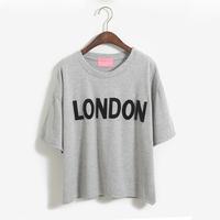 FREE SHIPPING 2014 vintage color block letter subsidize t-shirt london o-neck women's