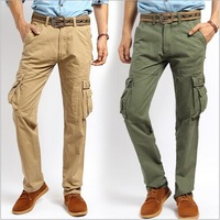 New 2014 Autumn and Winter Men Casual Pants Outdoors Plus Size Cargo Pants Army Green Cotton Baggy Sports Pants Free Shipping